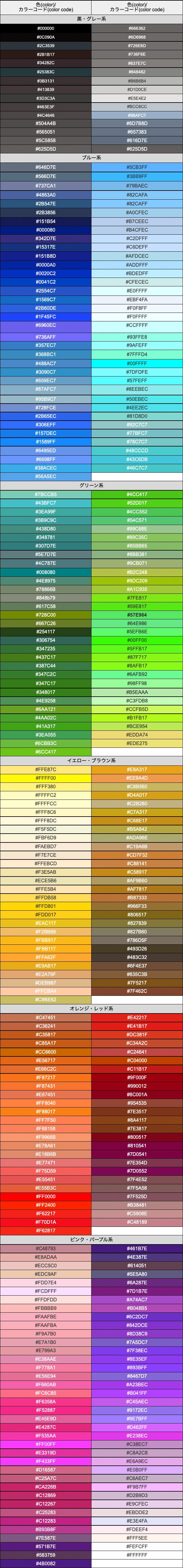 カラーグループ 342色