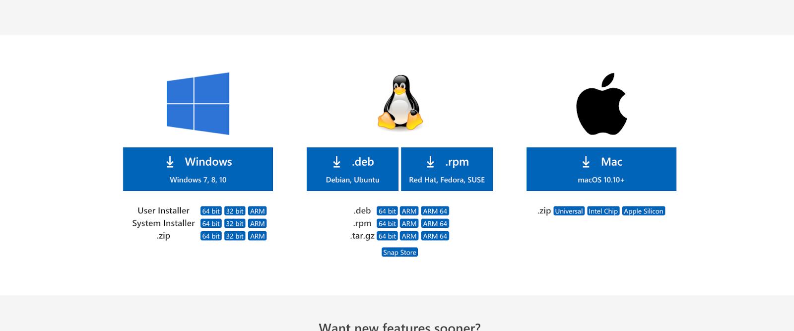 Visual Studio Codeの公式ダウンロードページ